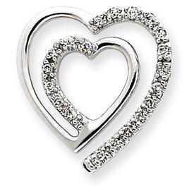 Vintage or blanc 14 carats Diamant Pendentif Coeur-JewelryWeb