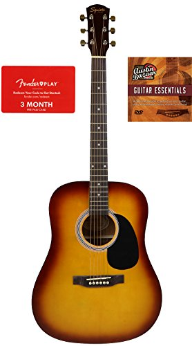 Squier by Fender SA-150 Dreadnought Acoustic Guitar – Sunburst Bundle with Fender Play and Austin Bazaar Instructional DVD