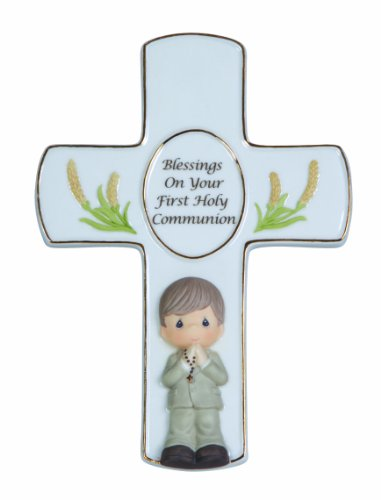 Precious Moments,  Blessings On Your First Holy Communion, Boy, Bisque Porcelain Cross With Stand, 123409 (Boy First Communion Cross)