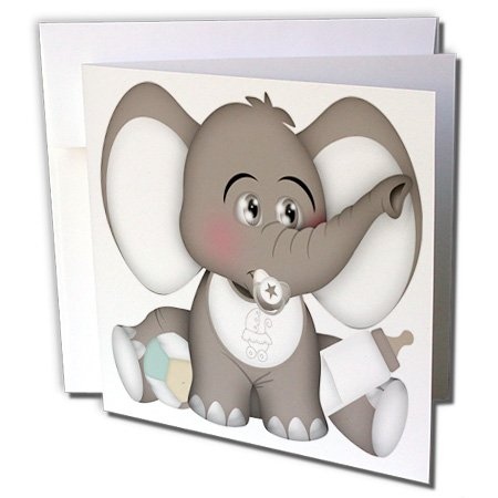 3dRose Anne Marie Baugh - Animals - Cute Gray and White Baby Elephant with A Pacifier, Bib, and Bottle - 12 Greeting Cards with envelopes (gc_222584_2)