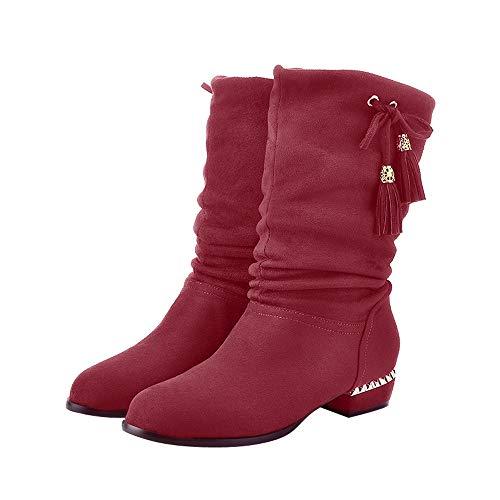 kaifongfu Women's Boots Knee Flat Shoes to Keep Warm Ladies Long Boots(Wine,US:6.5)