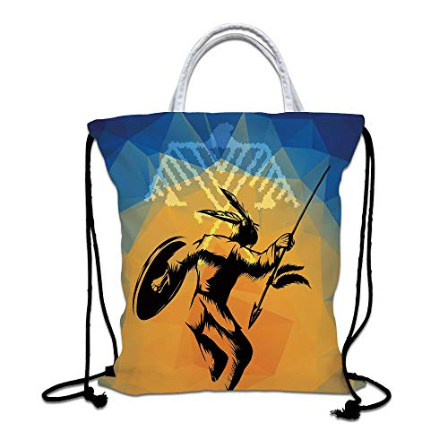 Native American Drawstring Backpack,War Dance Ritual Against Ancient Totem Poly Effect Triangles Abstract Lightweight Gym Sackpack Tote Bags for Gym Hiking Travel Beach,Pale Orange Blue
