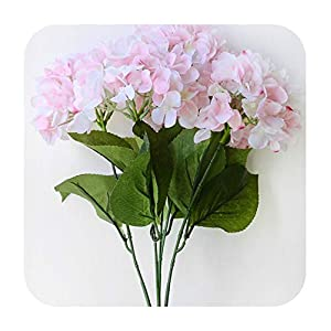 Artificial Fowers Artificial Flowers Hydrangea Bouquet for Wedding Party Home Decoration Floral 5 Heads Silk Flower Bridal Bouquet,Pink 88