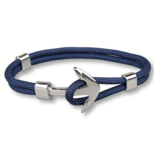 DreamMarker Happiness Jewelry Unisex Nylon Paracord Rope Sailing Bracelet with Nautical Anchor Alloy Clasp (Navy Blue/Silver)