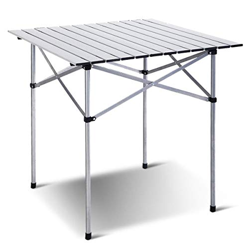 Joyhome Roll Up Portable Aluminum Folding Camping Square Tables PicnicTable for Outdoor Camping Hiking Lightweight Picnic Table, 28