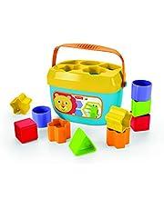 Fisher-Price FFC84 Baby's eerste bouwstenen vormen sorteerspel met speelblokjes en emmer voor het opbergen, vanaf 6 maanden