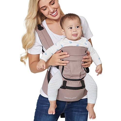 Baby Carrier Hip Seat 100% Cotton – Pocket & Removable Hoodie/Head Support – Adjustable & Breathable – Neotech Care Brand – For Infant, Child, Toddler – Grey