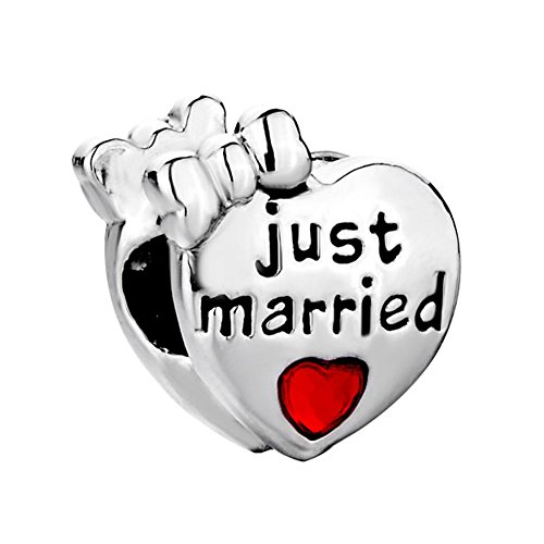 Heart of Charms Love Charms Wife and Husband Wedding Kissing Forever Together Heart Bead for Bracelet (just married)