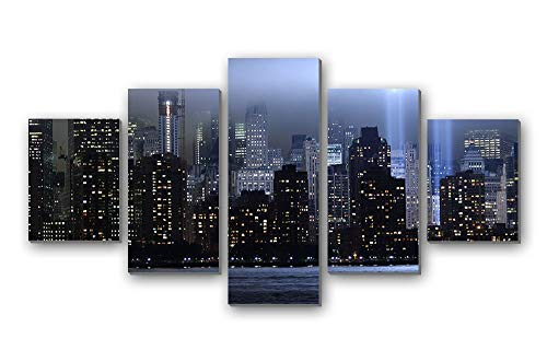5 Panel Wall Art Painting - world trade center new york memorial lights skyscrapers rays - Canvas stretched With Wooden Frame for Home Decor (12