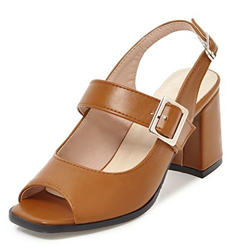 Femme Mode Aisun Ouvert Bout Sandales Chunky Boucle Brun 64FSqa1