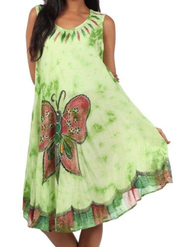 mezza a cotone con farfalla a in bottoni Verde lungo Sakkas caftano lunghezza lunghe a Abito maniche con IqwpUCn