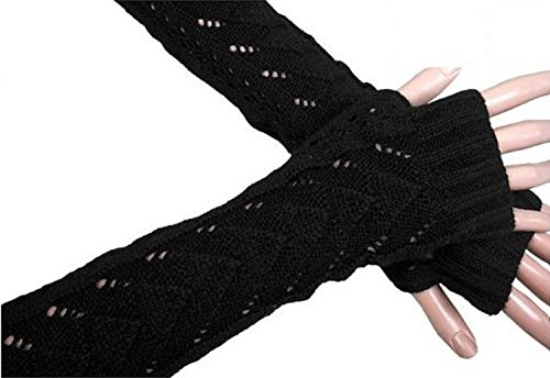 Leegoal Lady Winter Long Stretch Weave Knit Arm Warmer Fingerless Hollow Out Gloves