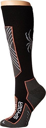 Spyder Women's Sport Merino Sock, Black/Coral/White, Medium
