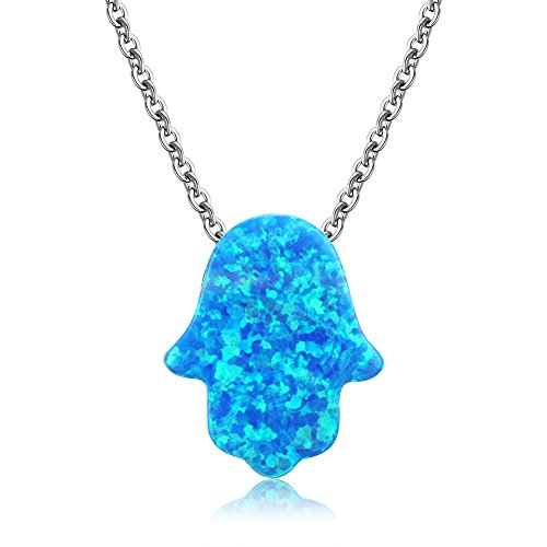 Kaletine Hamsa Hand of Fatima Necklace Sterling Silver Blue Synthetic Opal Pendant 11x13mm Cable Chain 16