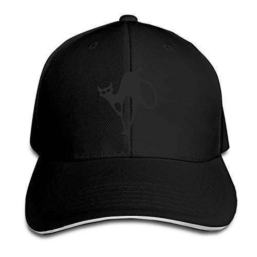 Black Cat Feline Animal Mammal Halloween Abstract Men's Structured Twill Cap Adjustable Peaked Sandwich Hat -