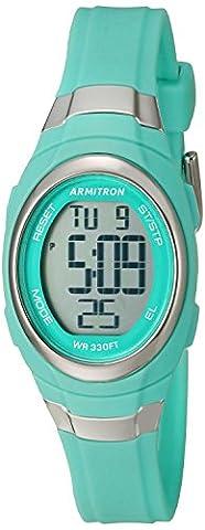 Armitron Sport Women's 45/7034TEL Digital Chronograph Matte Teal Resin Strap Watch (Armitron Sports 50)