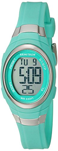 Waterproof Sport Watch - Armitron Sport Women's 45/7034TEL Digital Chronograph Matte Teal Resin Strap Watch