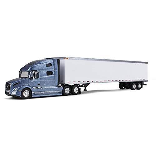 First Gear 1/87 Scale Diecast Collectible Smoky Mountain Blue Metallic/White Volvo VNL 760 Sleeper Cab Tractor with Plastic 53' Trailer (#80-0323) -