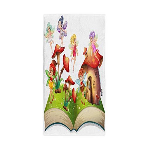 Pinbeam Bath Towel Fairy Fairies Flying Around The Mushroom House Fantasy Towel Beach Towel -