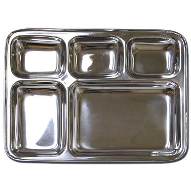 (Stainless Steel Rectangular Divided Dinner Tray 5 sections)