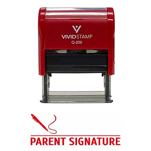 PARENT SIGNATURE Teacher Self Inking Rubber Stamp (Red Ink) - Medium