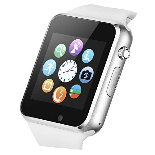 Smart Watch Touchscreen Bluetooth Smartwatch Wrist Watch Sports Fitness Tracker with SIM SD Card Slot Camera Pedometer Compatible iPhone iOS Samsung Android for Men Women Kids (White) (Bluetooth Wrist Pedometer)