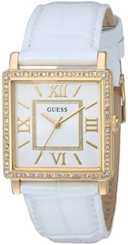 GUESS Women's Quartz Stainless Steel and Leather Casual Watch, Color:White (Model: - Arrivals Guess New