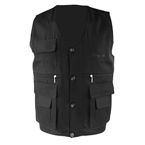 Cheap Jili Online Men's Utility Multi Pocket Button Vest Hunting Fly Fishing Hiking Camping Photography Jacket – Blackblue, 2XL