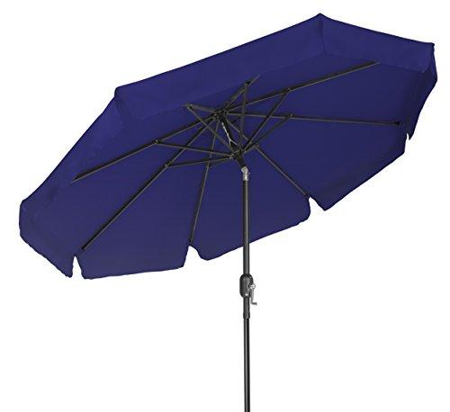 Trademark Innovations 8' Tilt Crank Patio Umbrella with Scalloped Edge Top (Blue)