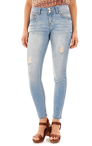 WallFlower Juniors Luscious Curvy Skinny Jeans In Skyler, 0 (Jeans Wash For Skinny Light Women)