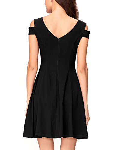 InsNova Women's Off Shoulder Little Cocktail Party A-line Skater Dress (X-Small, Black) by InsNova (Image #2)