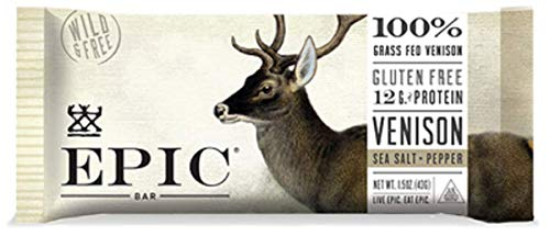 (Epic (Sample) All Natural Meat Bar, 100% Grass Fed, Venison, Sea Salt & Pepper, 1.5 ounce bar)