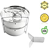 Instant Pot Steamer - Urban Supply's Premium Stackable Steamer Insert Pans with Y-shaped Divider & Interchangeable lids for Instant Pot 6,8 quarts & Pressure Cooker - Pot in Pot - FREE eBook included