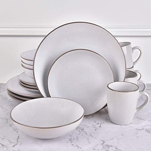 16 Piece Round Dishes Dinnerware Sets, Matt White Ceramic Dinnerware Sets, Porcelain Dinnerware Sets for Everyday Use, Service for 4