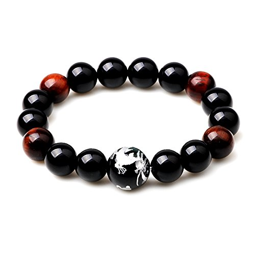 Winter's Secret Natural Romantic Agate Beaded Phoenix Dragon Legend Lucky Stretch Bracelet-Silver - Pearl Stores Ms In