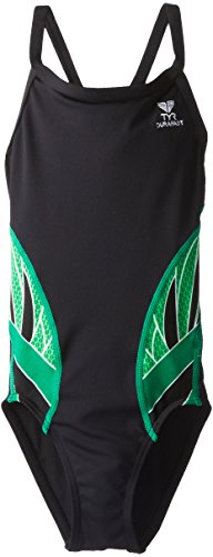 TYR SPORT Girl's Phoenix Splice Diamondfit Swimsuit, Black/Green, Size 24 ()