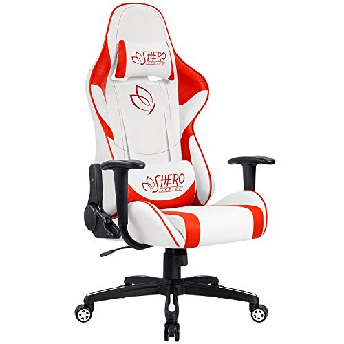 Homall Gaming Chair Racing Office Chair High Back Computer Desk Chair Leather Executive Adjustable Swivel Chair with Headrest and Lumbar Support Red