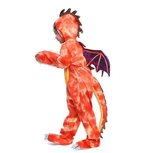 Kids Dinosaur Costume Cosplay Halloween Child Red Fire Breathing Dragon Party Fancy Dress (Dinosaur, L) -
