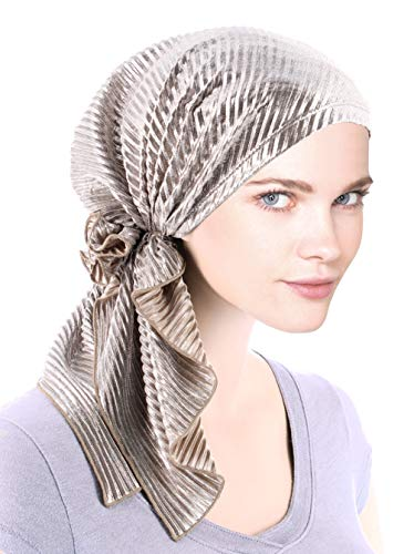 The Bella Scarf Chemo Turban Head Scarves Pre-Tied Bandana for Cancer Plisse Metallic Silver Beige ()