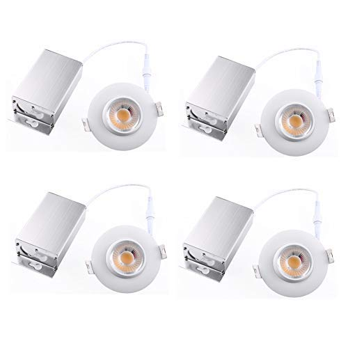 (4 Pack) NICKLED 8W 3 inches LED Eyeball Recessed Lighting Kit Dimmable Downlight-Directional Adjustable Fixture Without Can and Trim (65W Replacement) 3000K Warm White,800lm-ETL Energy Star Approved ()