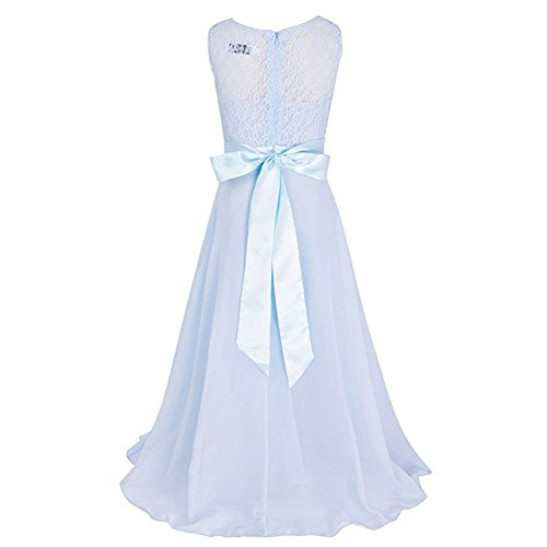 Tueenhuge Girls Wedding Dress Elegant Formal Lace Flower Dance Ball Party Dress(Light Blue,160)