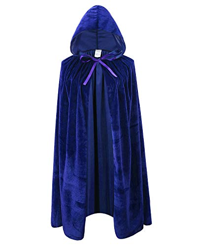 Ourlove Fashion Kids Velvet Cape Cloak with Hood Unisex-Child Cosplay Halloween Christmas Costume (100cm/39.4inch, Blue)