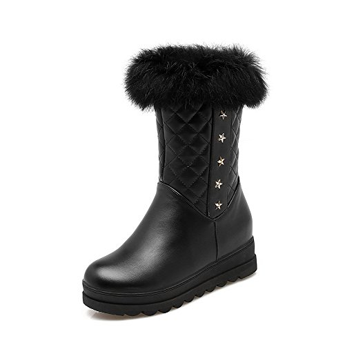 Zipper Solid Black PU Kitten Closed Round Heels Women's Boots Toe AgooLar 8w5vRR