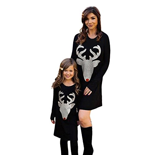 (Qisc Parent-Child Striped Deer Shirt Dress Mommy and Me Family Clothes Matching Dress (Mom Size L, Black) )