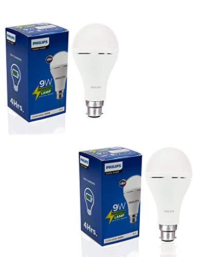 Philips Inverter Bulb 9 Watt Rechargeable Emergency LED Bulb for Home, Pack of 2, Cool Daylight,...