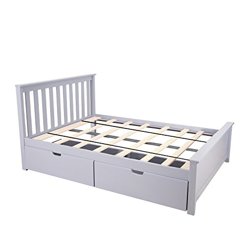 Max & Lily Solid Wood Full-Size Bed with Under Bed Storage Drawers, Grey