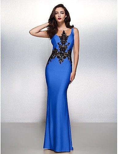 Vestido Apliques Noche Tren Con Blue Cepillo Prom Trompeta Lazo Barrer Sirena Boca Formal Jersey De HY Ocean Negro Gala amp;OB Cuello Uw6xxSq