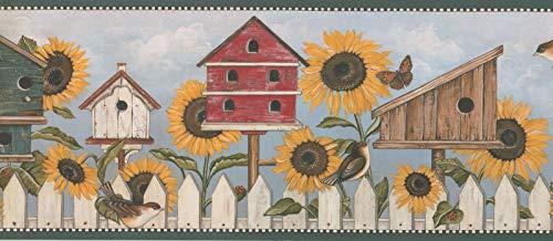 Birdhouses Wallpaper Border - DC7083B Sunflower Birdhouse Butterly Bird Rustic Wallpaper Border 10.25