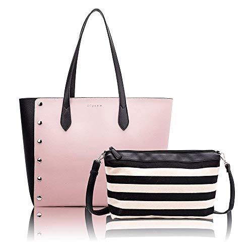 Designer Handbags Set for Women Vintage Style Soft Leather Tote Shoulder Bag Large Capacity Top Handle Satchel Purse Set 2PCS ()