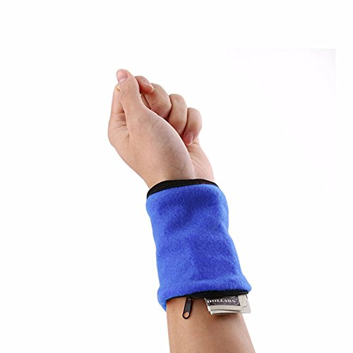 Furnido 1 Pair Fleece Zipper Wristband Sweat Band Sports Wrist Wallet Key Money Card Coin Pocket Storage Bag For Running Cycling And Other Sports (blue)